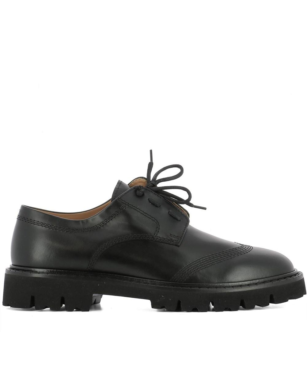 Maison Margiela Men's Black Leather Lace up Shoes | ModeSens