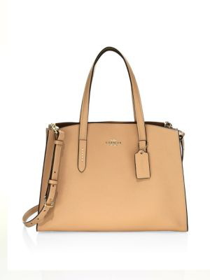 27cf7450fc Coach Charlie Polished Pebbled Leather Carryall Tote Bag In Yellow ...
