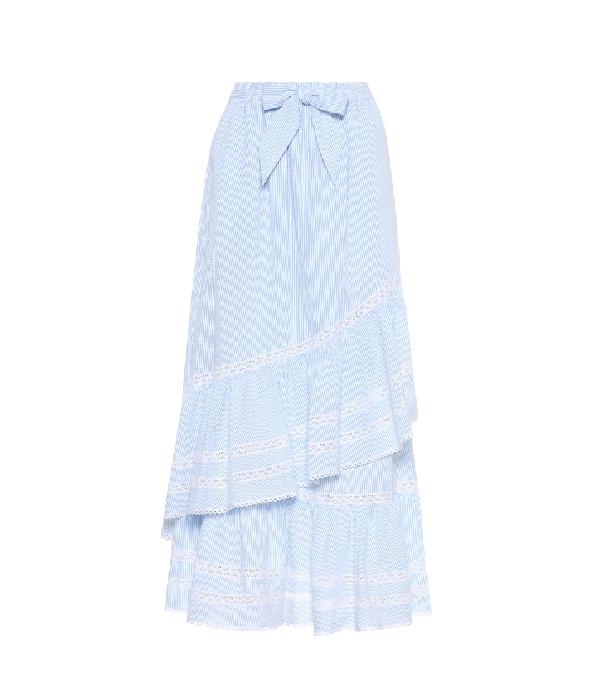 18c45510bb9 Jonathan Simkhai Lace-Trimmed Striped Seersucker Maxi Skirt In Light Blue