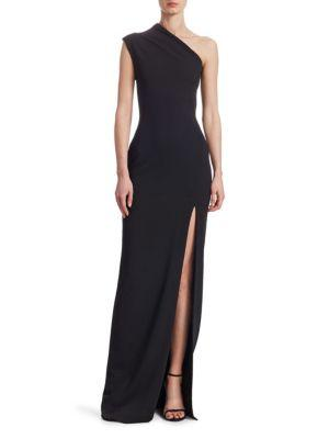 a8399e70fa Solace London Averie One-Shoulder Side-Slit Maxi Dress In Black ...