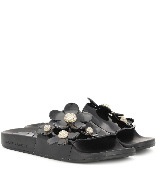 Marc Jacobs Women's Daisy Embellished Pool Slide Sandals In Black
