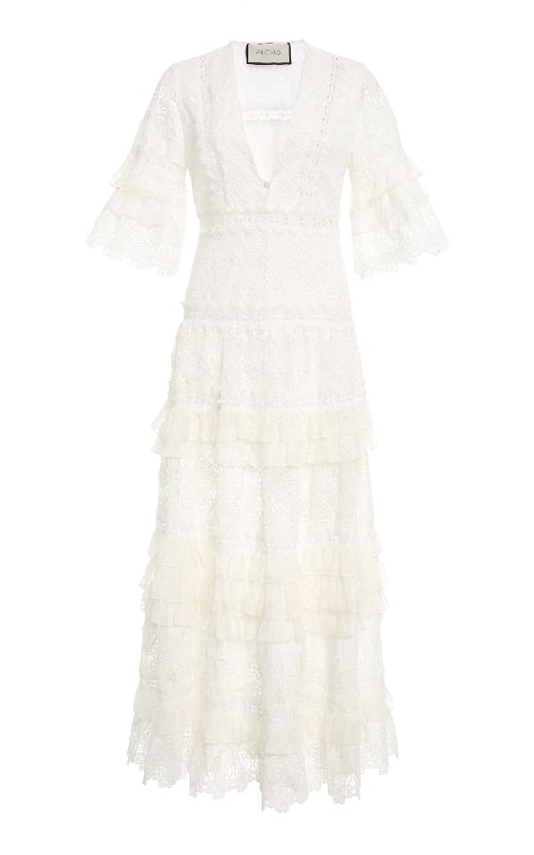 436dc60154c82 Alexis Hazelle Short-Sleeve Lace Midi Cocktail Dress, White   ModeSens