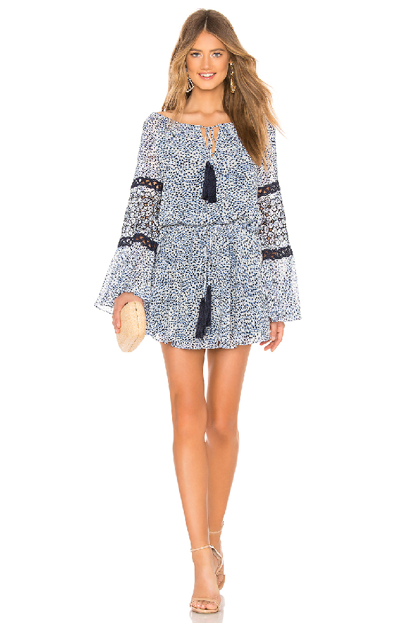 Alexis Lanelle Printed Long-Sleeve Mini Dress In Capri Embroidery