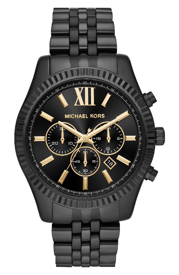 Michael Kors Lexington Bracelet Chronograph Watch, 44Mm X 54Mm In Black