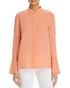 Donna Karan Silk Button-Down Bell-Sleeve Top In Petal Pink