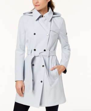 Calvin Klein Petite Double Breasted Belted Trench Coat, Created For Macy's In Powder Blue