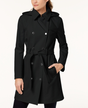 Calvin Klein Hooded Double-breasted Water-resistant Trench Coat, Created For Macy's In Black