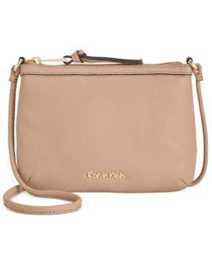 Calvin Klein Carrie Pebble Leather Crossbody In Nude