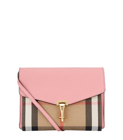 Burberry Macken Small Leather & House Check Canvas Crossbody Bag In Pink