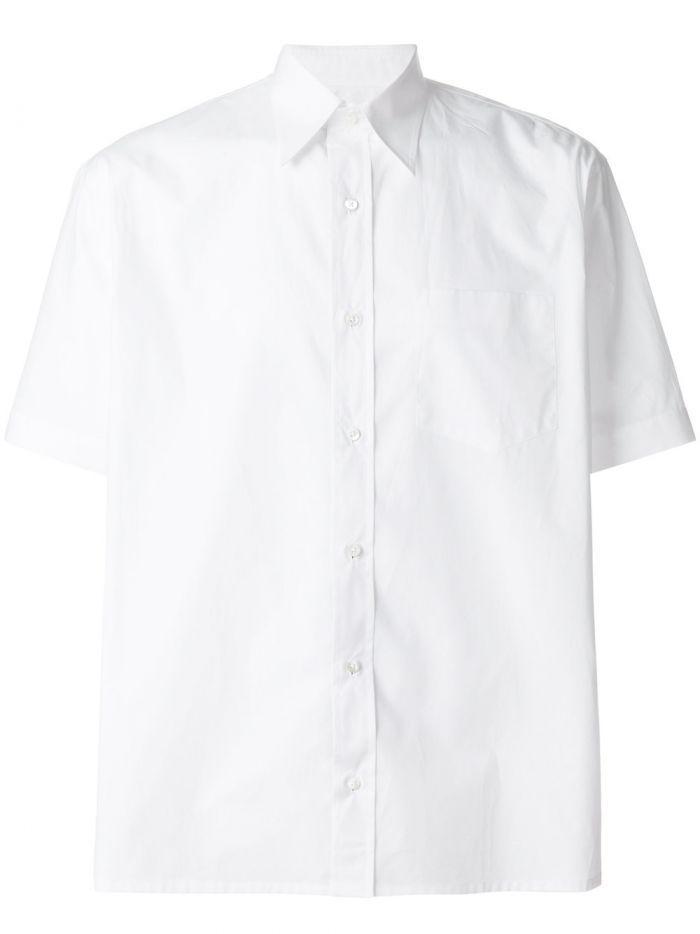 Fendi Pointy Collar Popeline Shirt In White