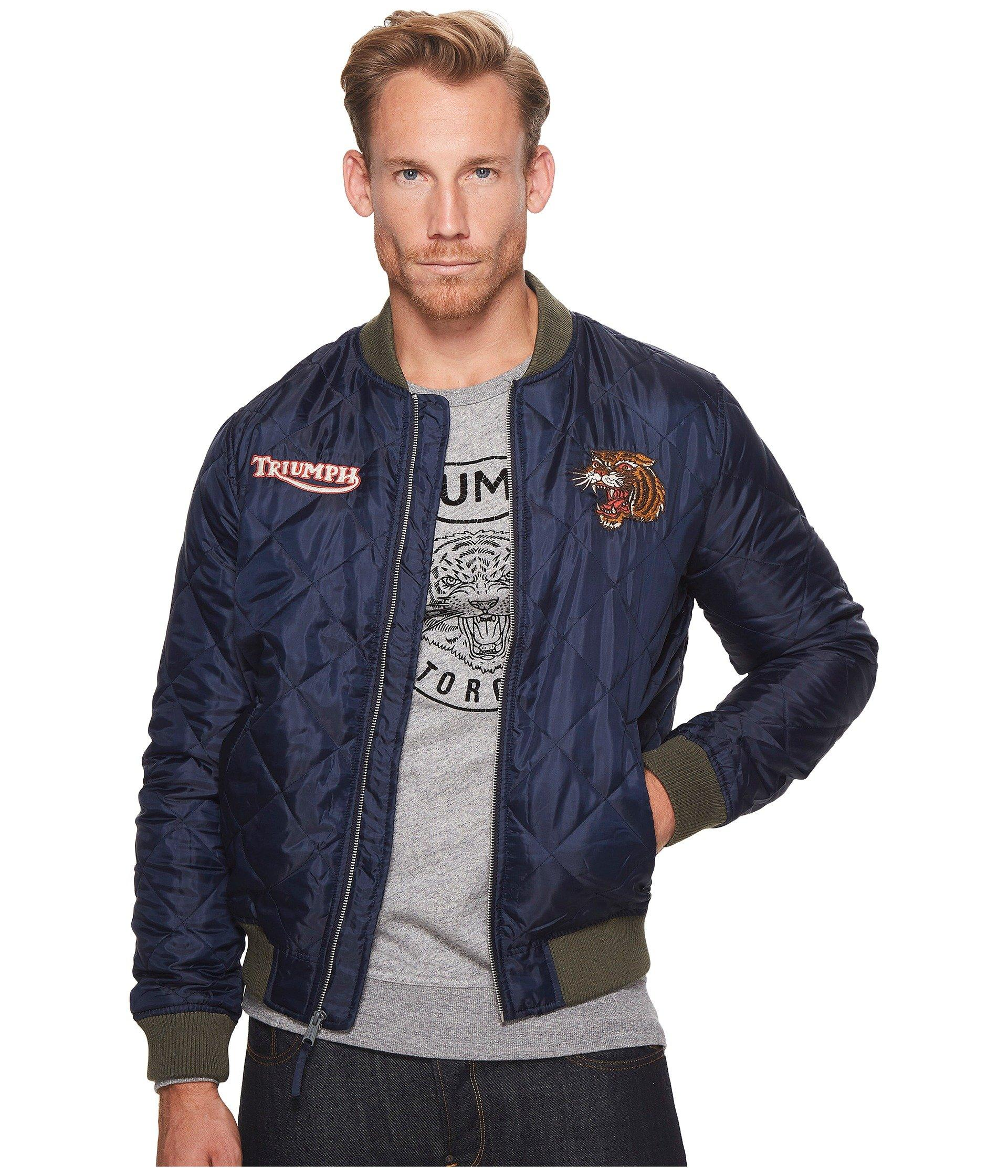 13776c8bc Quilted Bomber Jacket in Navy