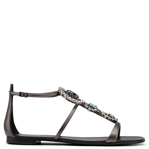 Giuseppe Zanotti - Laminated Gray Leather Sandal With Crystals Gilda In Grey