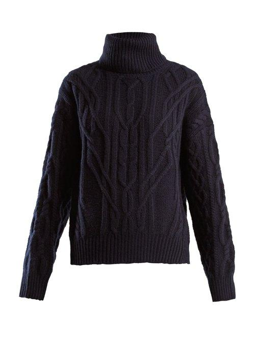 Cecil Roll neck Cashmere Cable knit Sweater In Navy