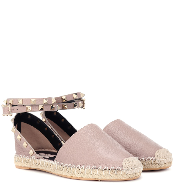 Valentino Rockstud Leather Espadrilles In Pink