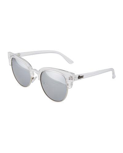 55c45ad0bd8a8 Quay Avalon Cat-Eye Plastic Metal Sunglasses In Clear