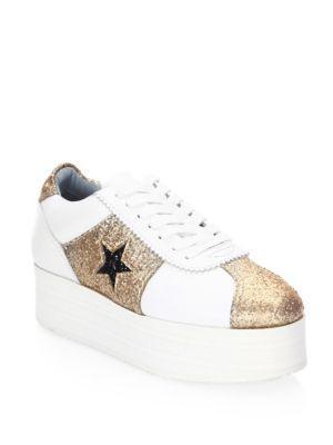 Chiara Ferragni Star Leather Platform Sneaker In White
