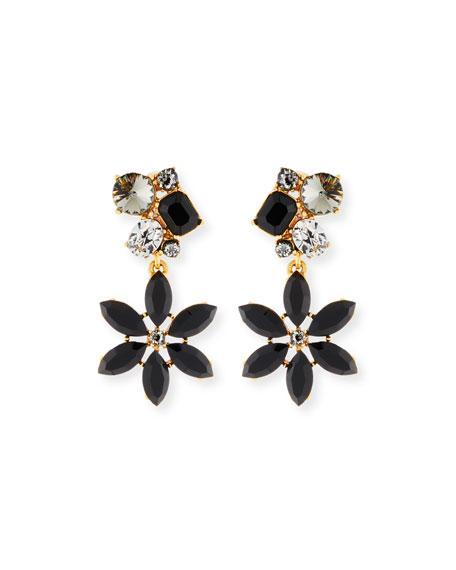 Oscar De La Renta Crystal Flower Clip-On Earrings In Jet