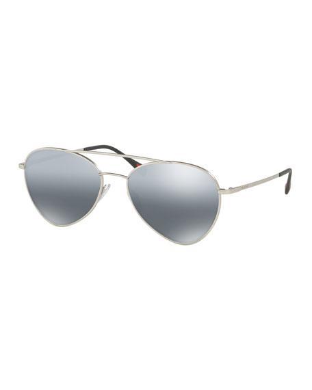 0540162087ed Prada Men s Mirrored Pilot Sunglasses In Silver