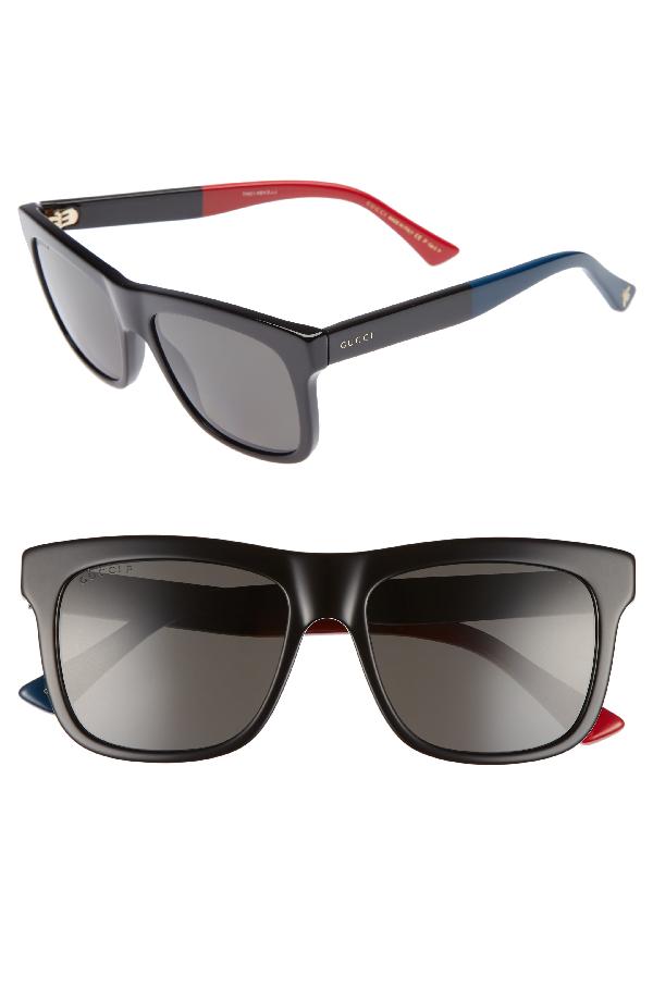 ece60f02 Men's Flat Top Color-Block Square Sunglasses, 55Mm in Black