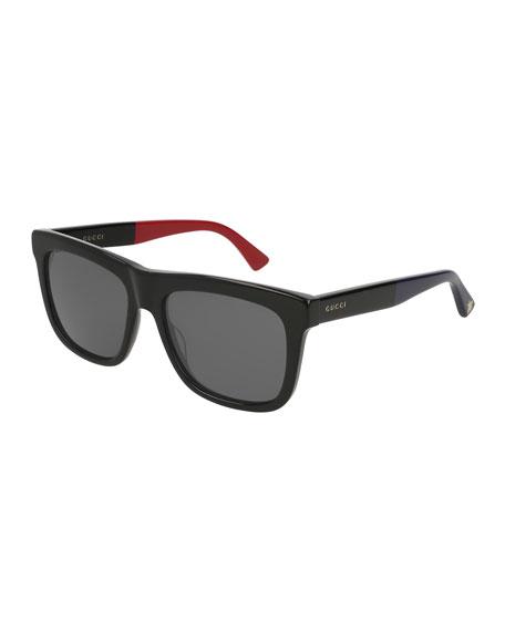 df9c5f326 Gucci Flat Top Color-Block Square Sunglasses