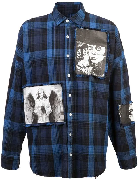 Haculla Plaid Graphic Patch Cotton Casual Button Down Shirt In Black