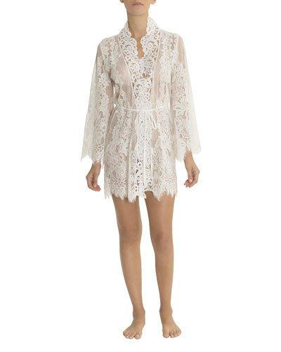 6b36e9343 Jonquil Jasmine Floral-Lace Short Robe In Ivory