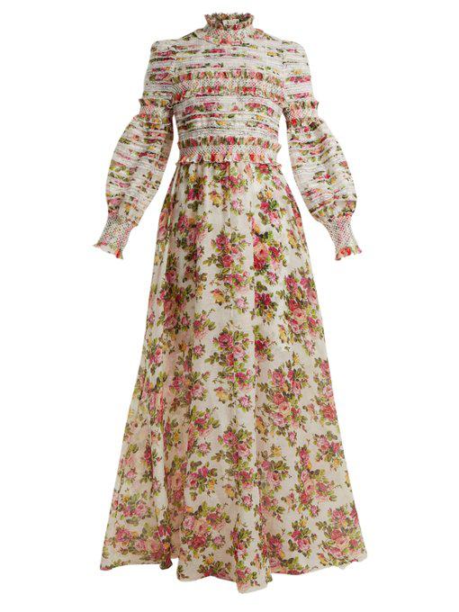 dfadb79b6092 Zimmermann Radiate Smocked Dress In Linen And Silk In Red Print ...