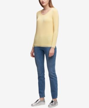 Dkny Metallic-Trim T-Shirt In Pale Yellow