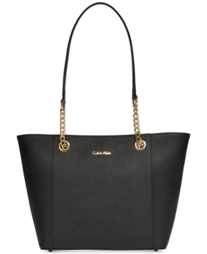 Calvin Klein Hayden Saffiano Leather Large Tote In Black/Gold