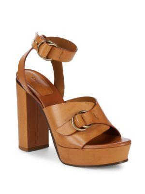 916d51d70378 ChloÉ Kingsley Platform Leather Sandals In Cognac