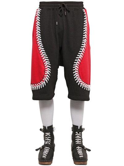 Ktz Baseball Seams Cotton Jogging Shorts In Black/red