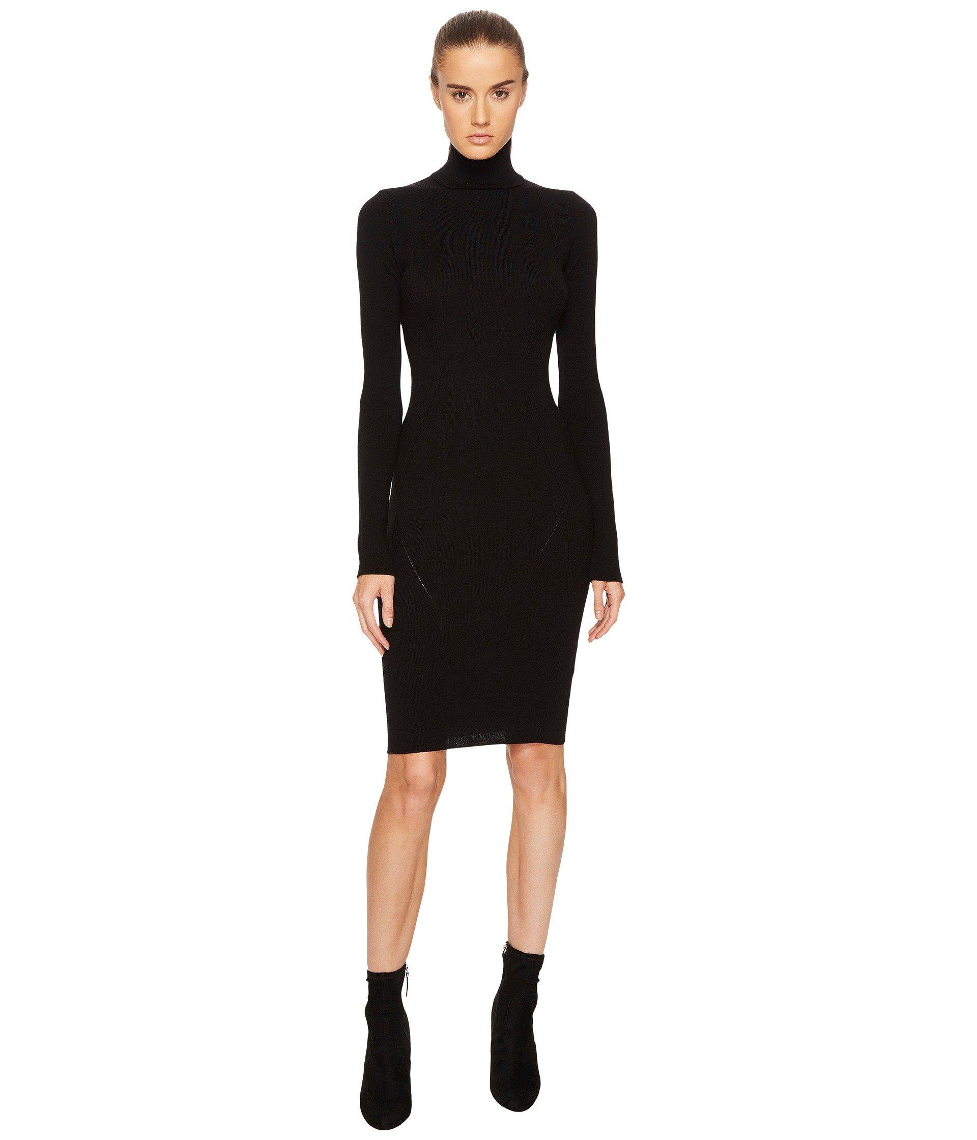 Dsquared2 Knit Turtleneck Long Sleeve Dress, Black
