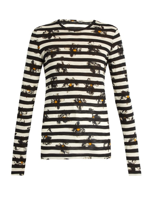 Proenza Schouler Long-sleeve Falling-flower Striped T-shirt, Stripe Cobalt Flower In White And Blacked Striped