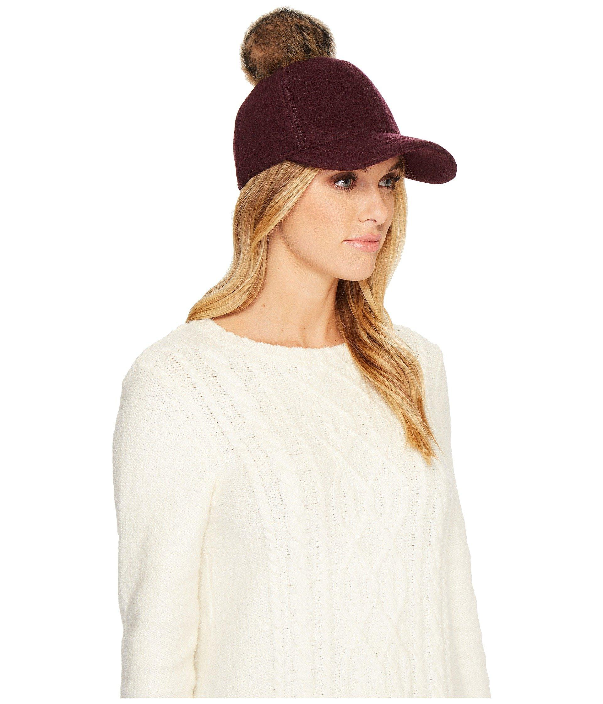 a05336084f3b7 Ugg Fabric Baseball Hat With Fur Pom In Natural Heather