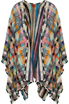 Missoni Woman Crochet-Knit Wool-Blend Cape Multicolor