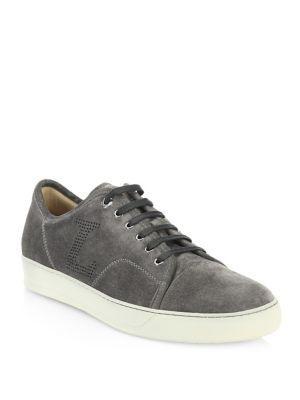 Lanvin Velvet Low-Top Sneaker In Dark Grey
