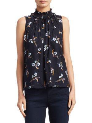 Rebecca Taylor Natalie Sleeveless Floral-Print Silk Top In Black Combo
