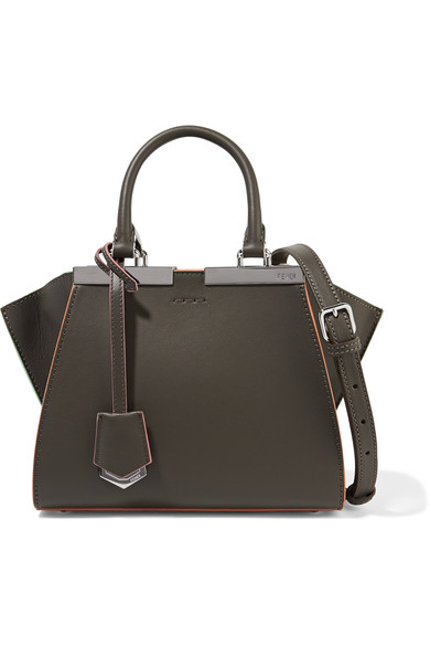 Fendi 3jours Small Leather Tote In Grey