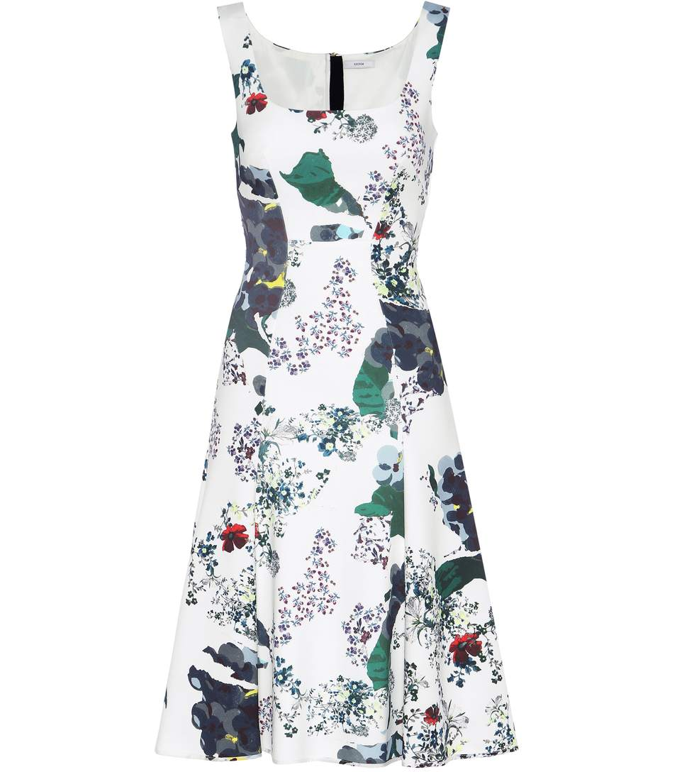 Erdem Tate Forget Me Not-print Neoprene-jersey Dress In White