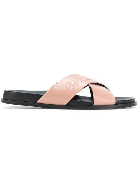 Balmain Powder Leather Criss Cross Women's Slide Sandals