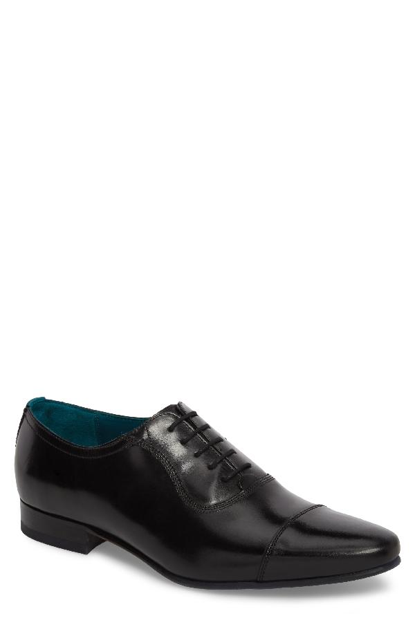 Ted Baker Men's Karney Leather Cap Toe Oxfords In Black Leather