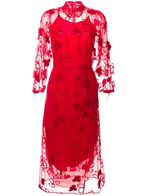 Simone Rocha Spooky Flower-embroidered Long-sleeved Dress In Red