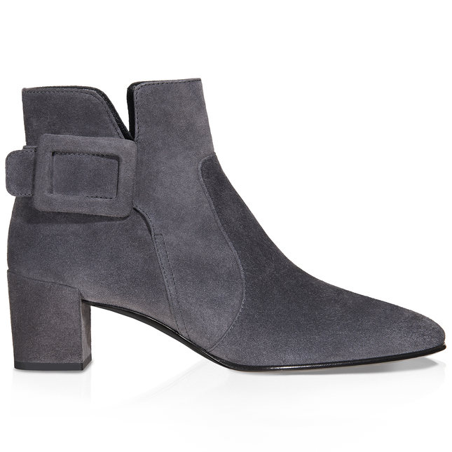 Roger Vivier Polly Suede Side-Buckle Ankle Boot, Dark Gray In Grey
