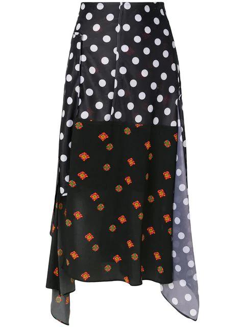 Jw Anderson J.W.Anderson Woman Asymmetric Floral-Print Jersey-Paneled Polka-Dot Gazar Midi Skirt Black