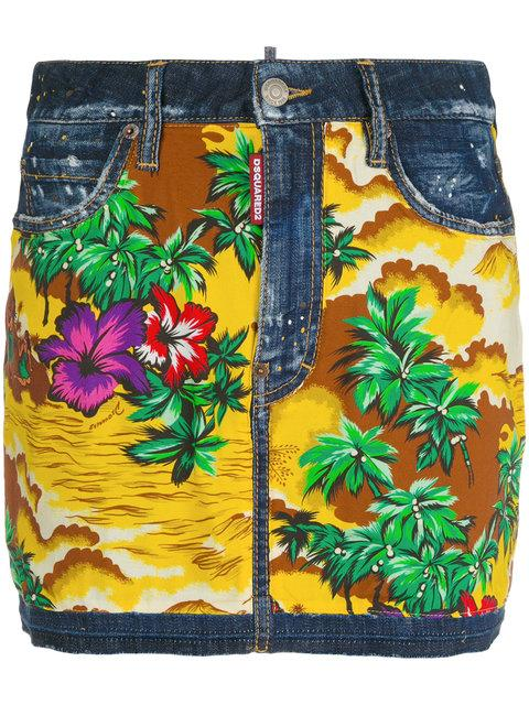 30d764ad Dsquared2 Hawaiian Print Denim Skirt In Multi | ModeSens
