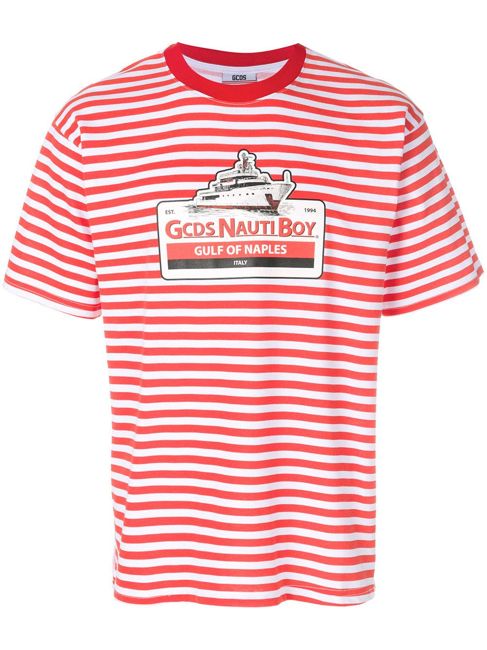 5cefca8910 Gcds Striped Cotton-Jersey T-Shirt In Red | ModeSens