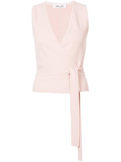 f919090fa1fc57 Diane Von Furstenberg Dvf Sleeveless Wrap Top - Pink   ModeSens