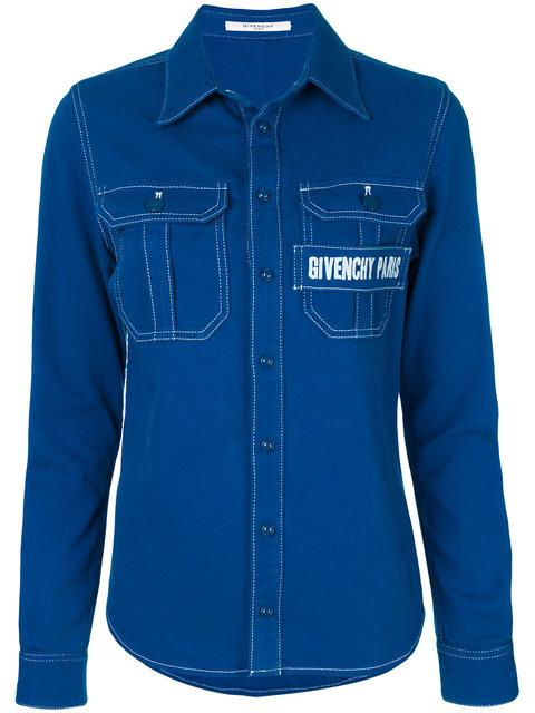 Givenchy Logo-embroidered Shirt - Blue