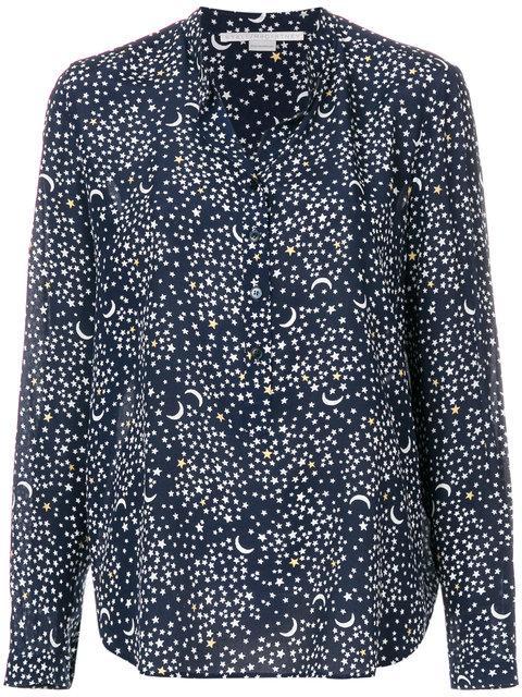 Stella Mccartney Moon Print Silk Blouse In Blue