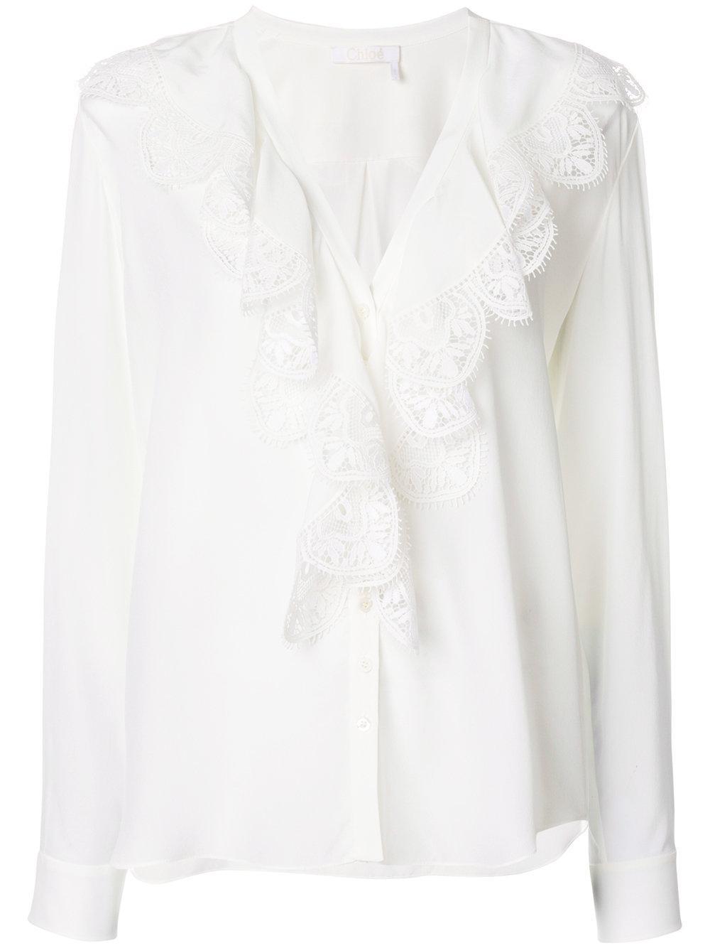 ChloÉ Ruffle Sleeved Blouse In White